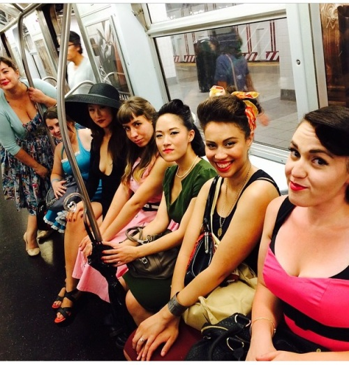 Pin ups on the train.