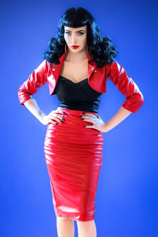 Deadly Dames Deadly Curves Leather Skirt and Moto Jacket